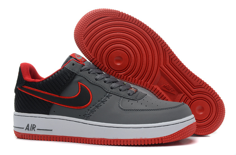 Nike Air Force 1 Low Grey Black Red Sneaker
